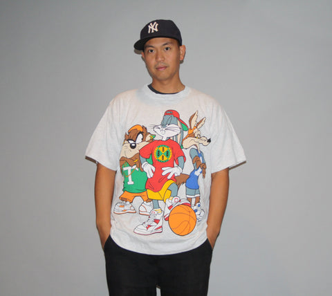1990s Oversized LONG XL Men's T Shirt Bugs Bunny Basketball Hip Hop Rap Rapper Urban Homie NBA