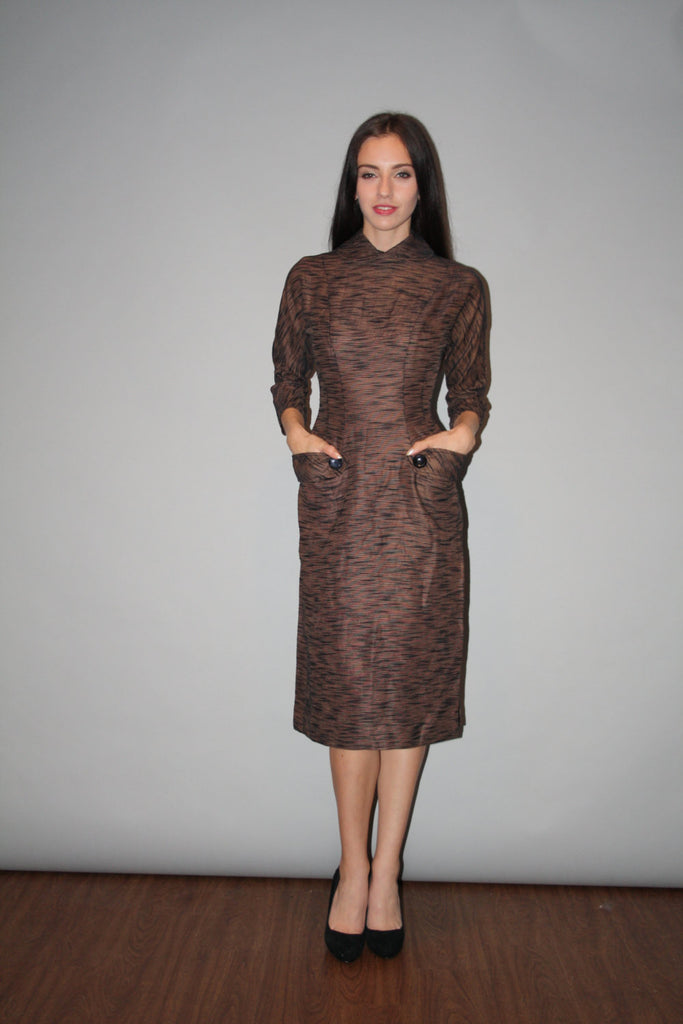 1950s Vintage Brown Striped Bombshell Pinup Wiggle Dress