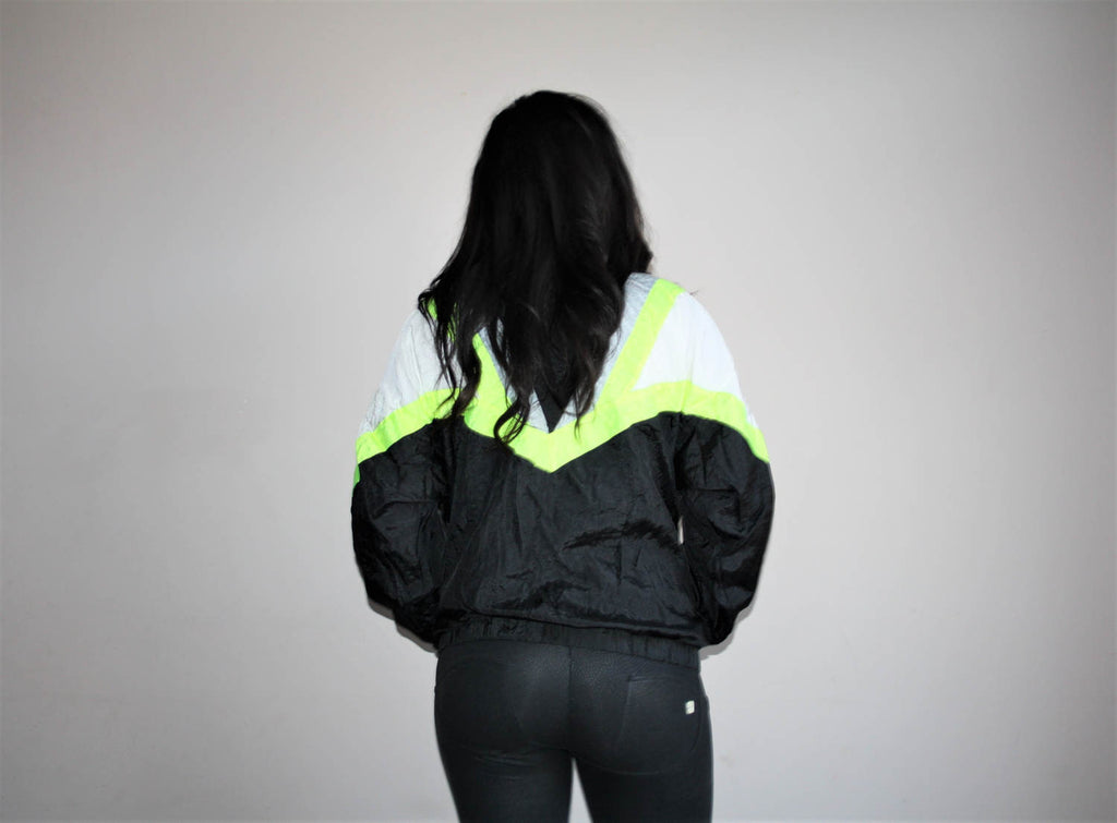 1990s Vintage Givenchy Active Designer Neon Hip Hop Windbreaker Jacket