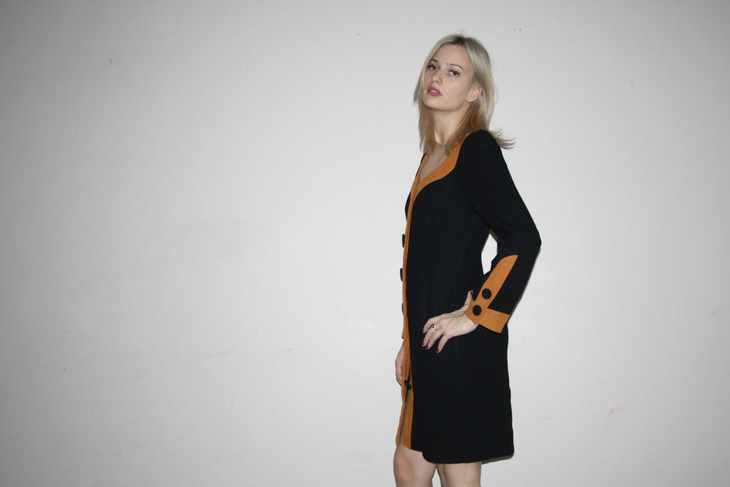 1980s Vintage Colorblock Mod Style Wool Colorblock Dress