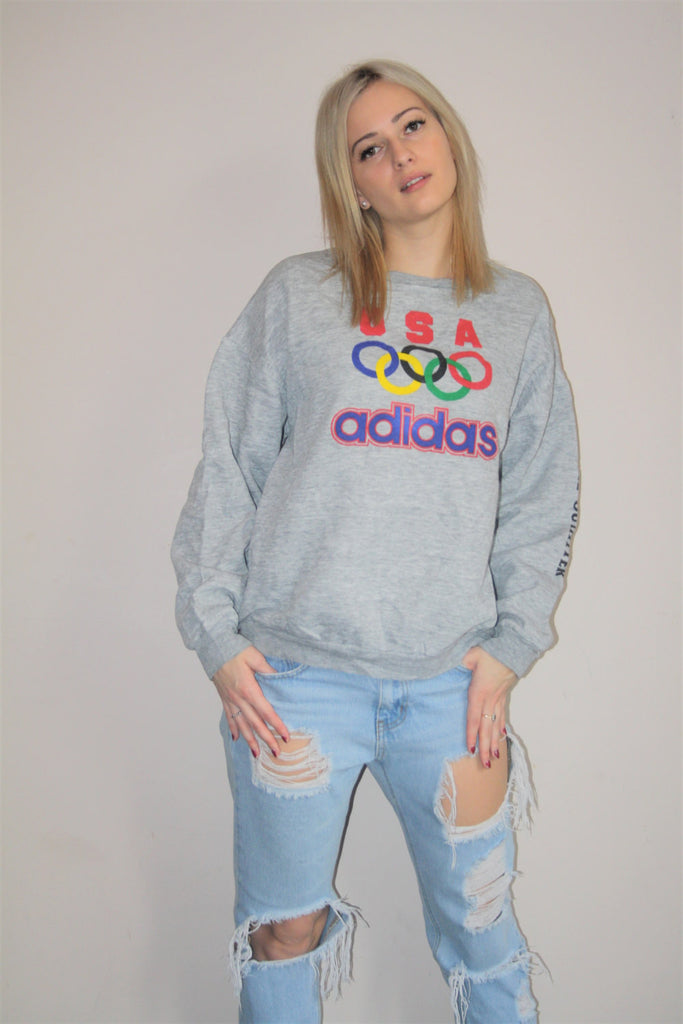 1980s Vintage Adidas Olympic Rings USA Colorblock Graphic Abstract Hip Hop Gray Sweatshirt