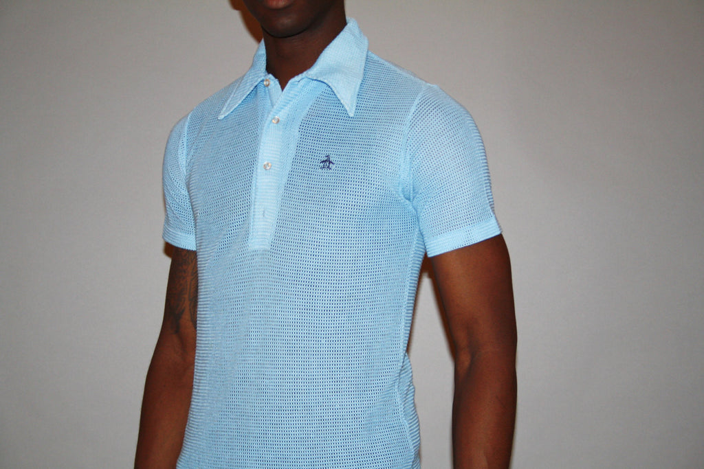 1980s Penguin Baby Blue Polo Mesh Dress Shirt