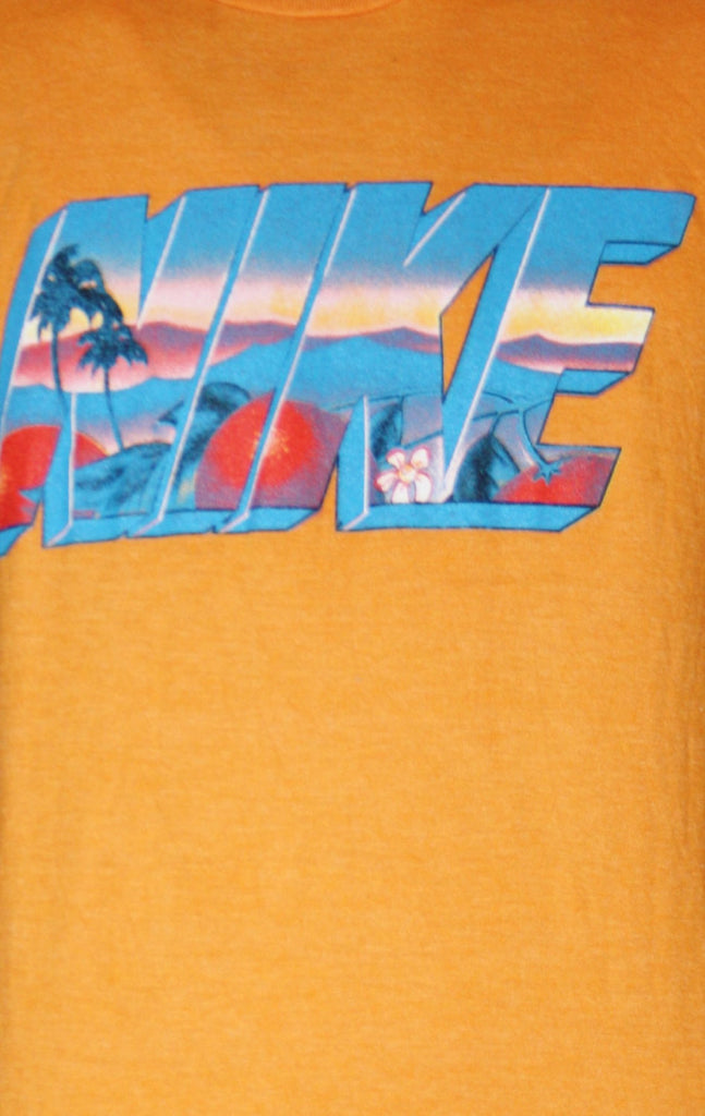 Orange Neon Graphic Abstract 1990s Nike T Shirt