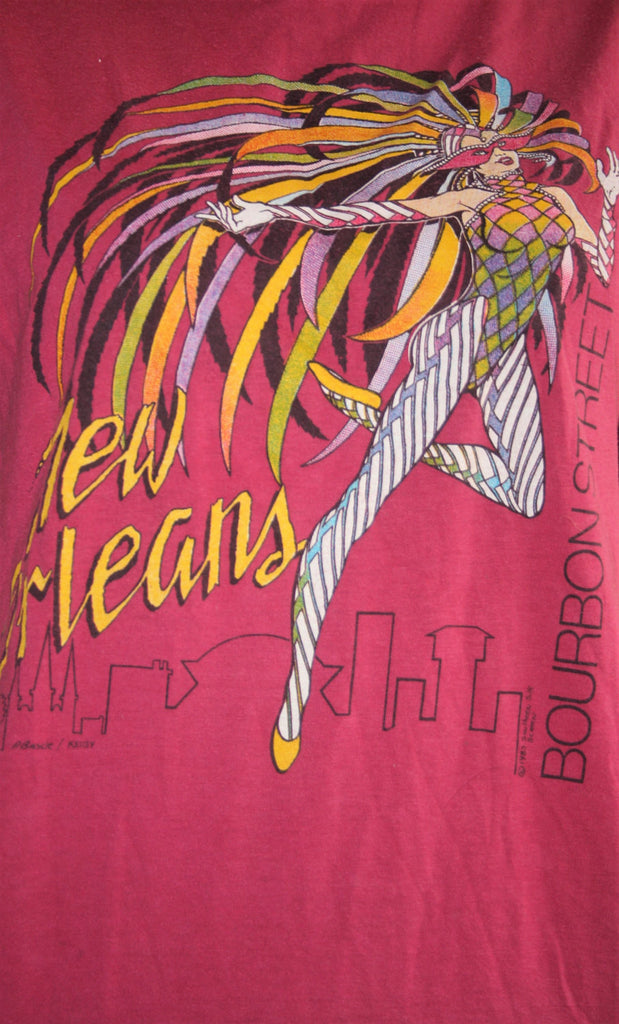 1980s Vintage New Orleans Bourbons Street Mardi Gras New Wave Graphic T Shirt