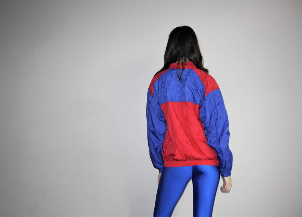 1990s Graphic Nike U.S.A. Red and White Colorblock Hip Hop Nylon Windbreaker Jacket