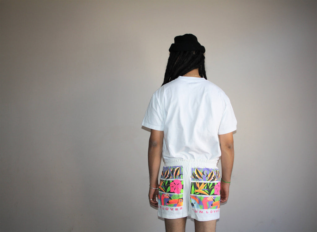 1980s Vintage Tropical Neon Surf Sun Lover Shorts
