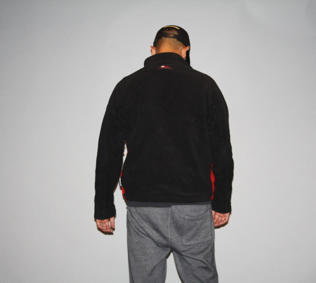 Oversized 1990s Polo Black and Red Fleece Pullover Sweatshirt