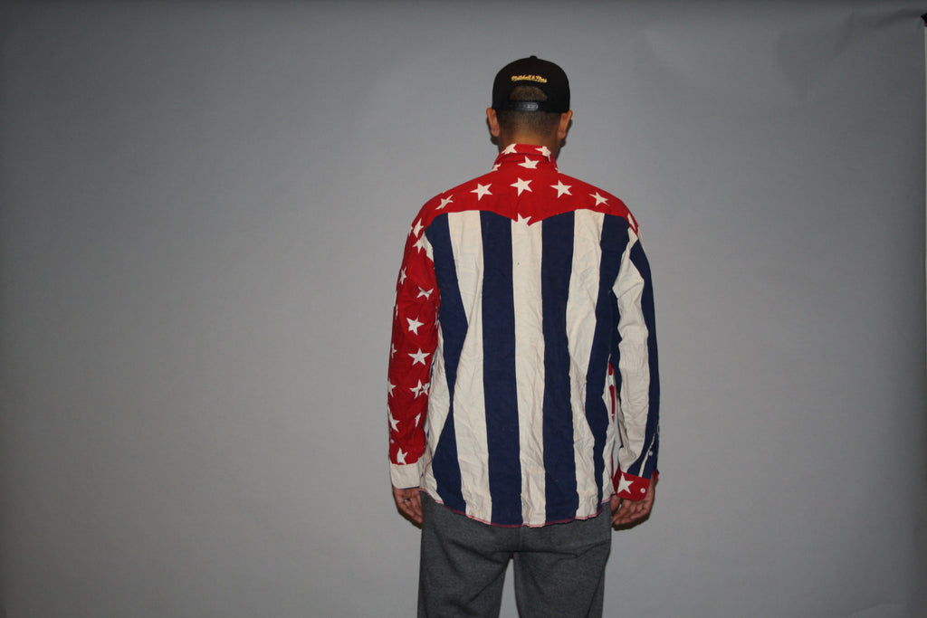 1990s Red White and Blue Stars and Stripes American Flag USA Patriotic Graphic Long Sleeve Button Up Men's Dress Shirt
