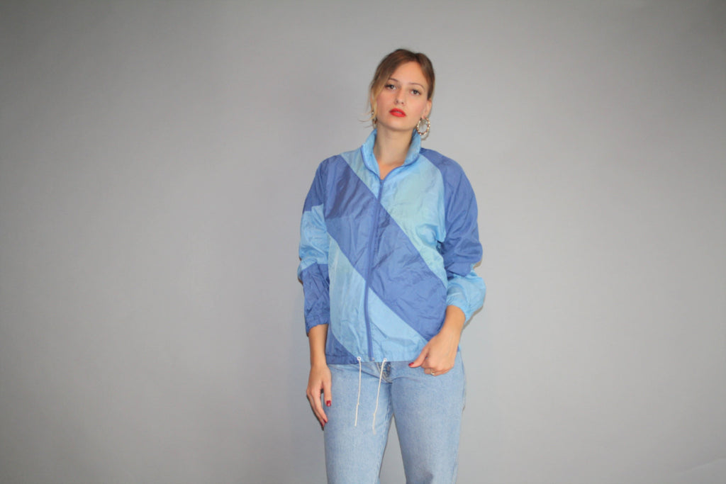 1990s Graphic Nike Pastel Blue Colorblock Urban Hip Hop Nylon Windbreaker Jacket