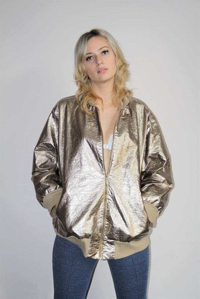 1990s Gold Metallic Leather Hip Hop Bomber Jacket