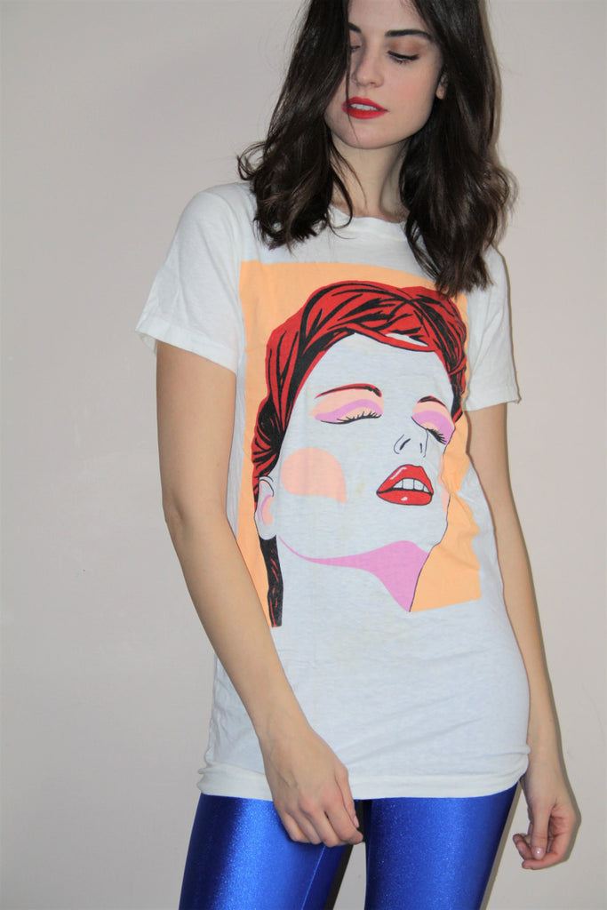1980s Vintage New Wave Graphic Face T Shirt