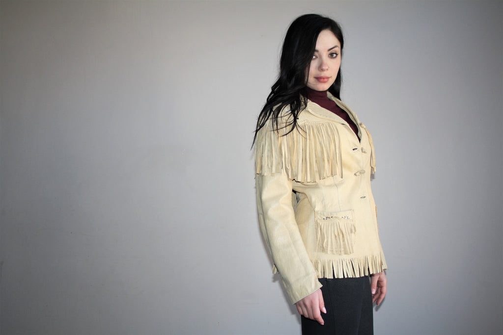 Rare Authentic 1950s Vintage Leather Fringe Beaded Western Outlaw Cowboy Jacket
