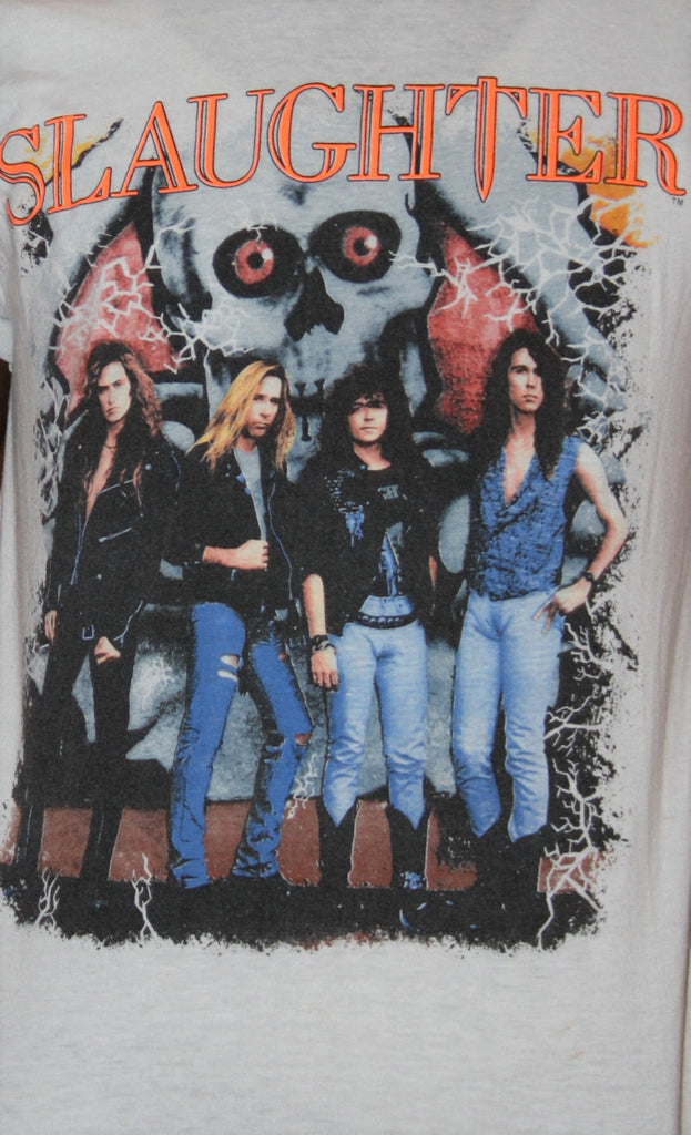 Vintage 1980s Slaughter Rock Band T Shirt
