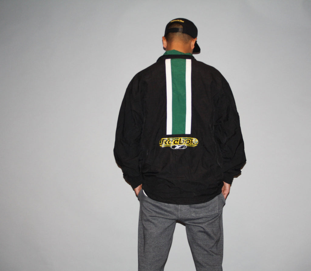 1990s Vintage 90s Colorblock Reebok Oversized XL Graphic Green Hip Hop Rap Rapper Windbreaker Jacket