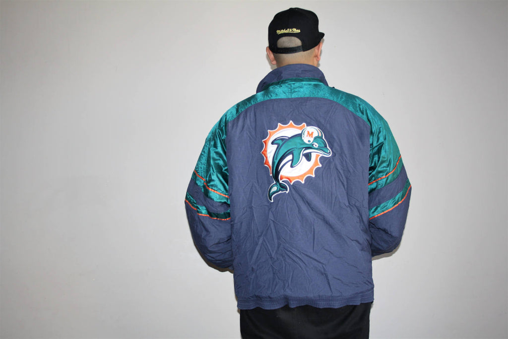 VTG 1990s Miami Dolphins NFL Football Starter Athletics Winter Parka Jacket Coat