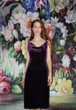 1990s Vintage Purple Plum Velvet Boydcon 90s Party Dress