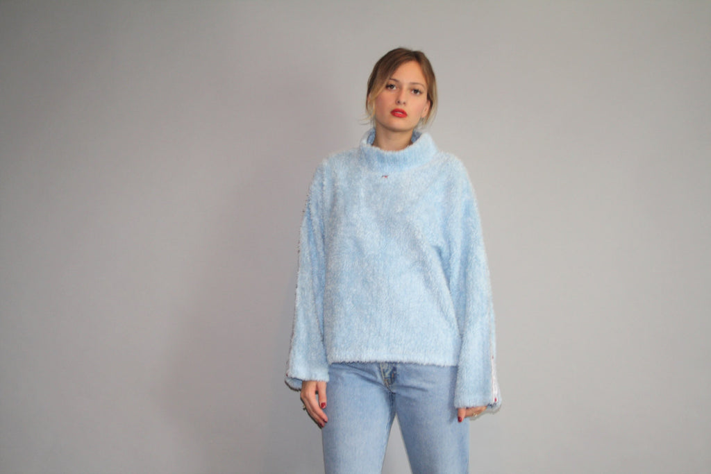 Vintage 90s Pastel Blue Cyber Fluffy Tommy Rare Tommy 1990s Turtleneck Pullover Jumper Sweater Sweatshirt