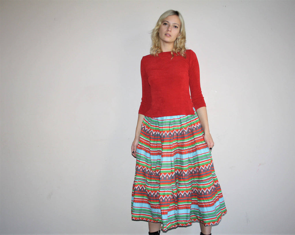 Vintage 50s Rainbow Tribal Aztec Print Cotton Circle Skirt