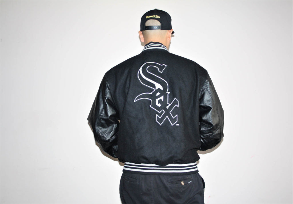 Men's Vintage 90s Hip Hop Leather Sleeve MLB Baseball Sox Varsity Jacket
