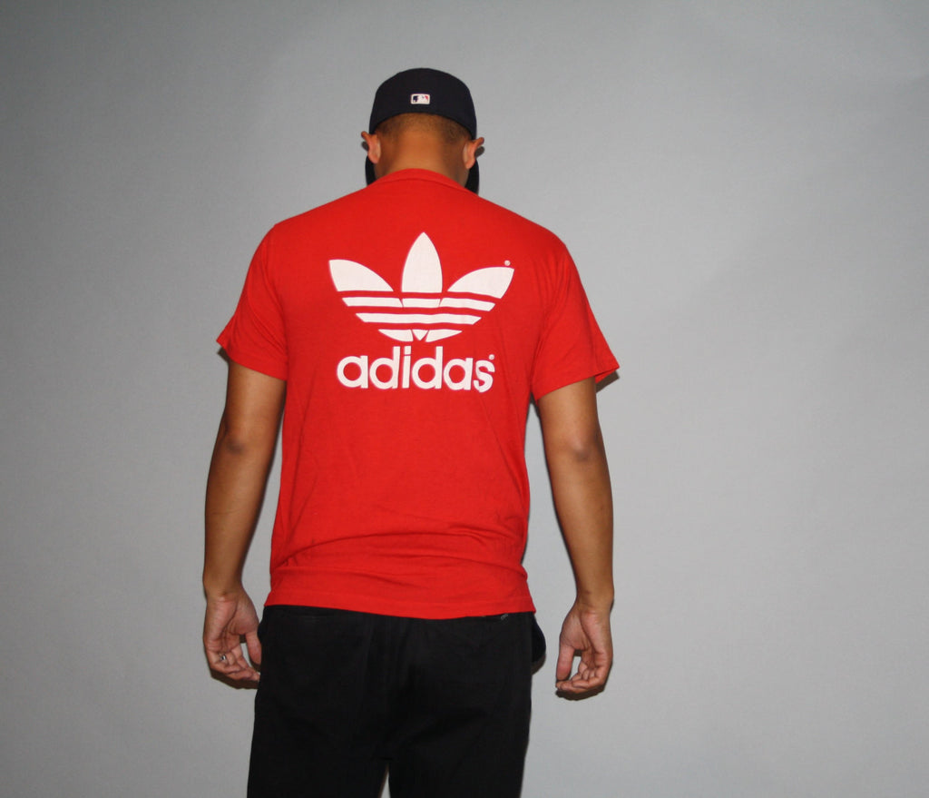 1990s Vintage 90's Adidas Trefoil Red Paper Thin 50 50 Cotton Poly Hip Hop Rap Style Fashion T-Shirt