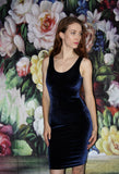 1990s Vintage Blue Velvet Low Back Boydcon 90s Party Dress