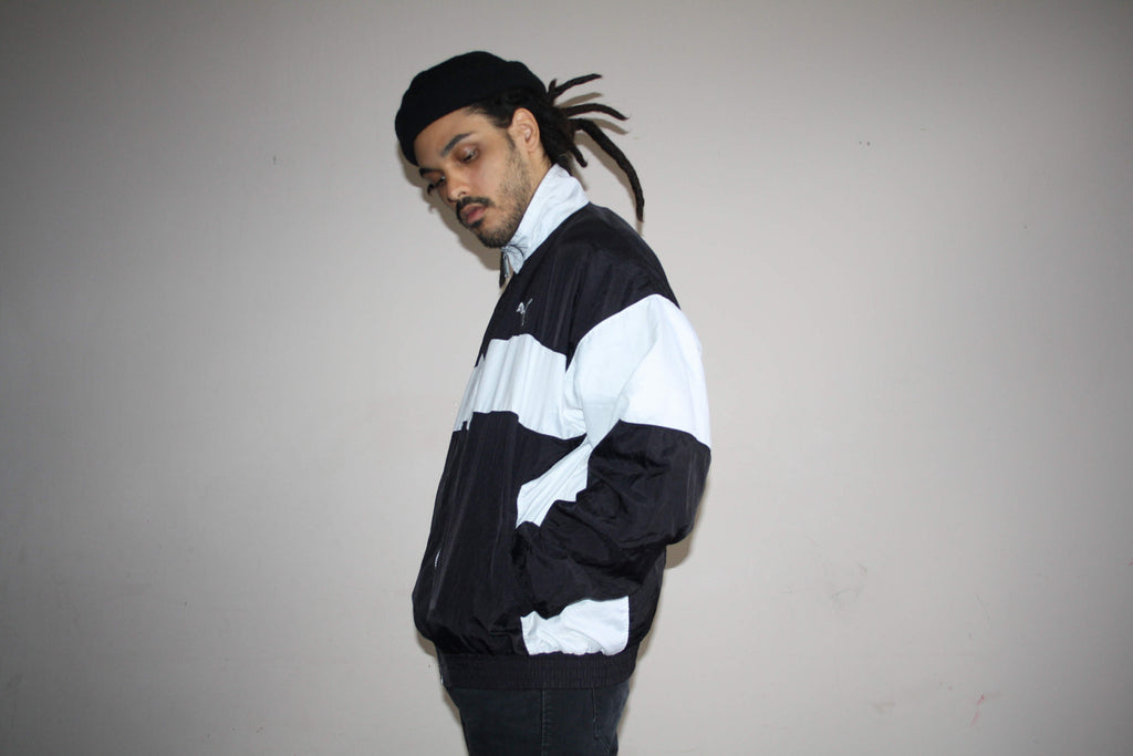 1990s Vintage Puma Black and White Colorblock Hip Hop Windbreaker Jacket