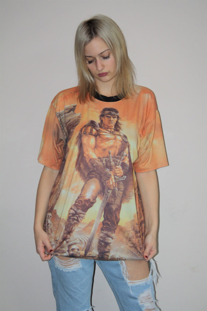 1990s Vintage Graphic Warrior Conan the Barbarian Romance Hunk 90s T Shirt