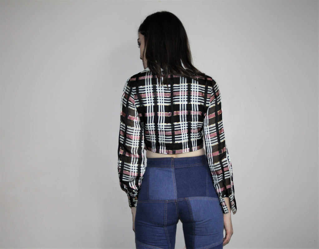 Vintage 1960s Plaid Metallic Mod Crop Top Blouse
