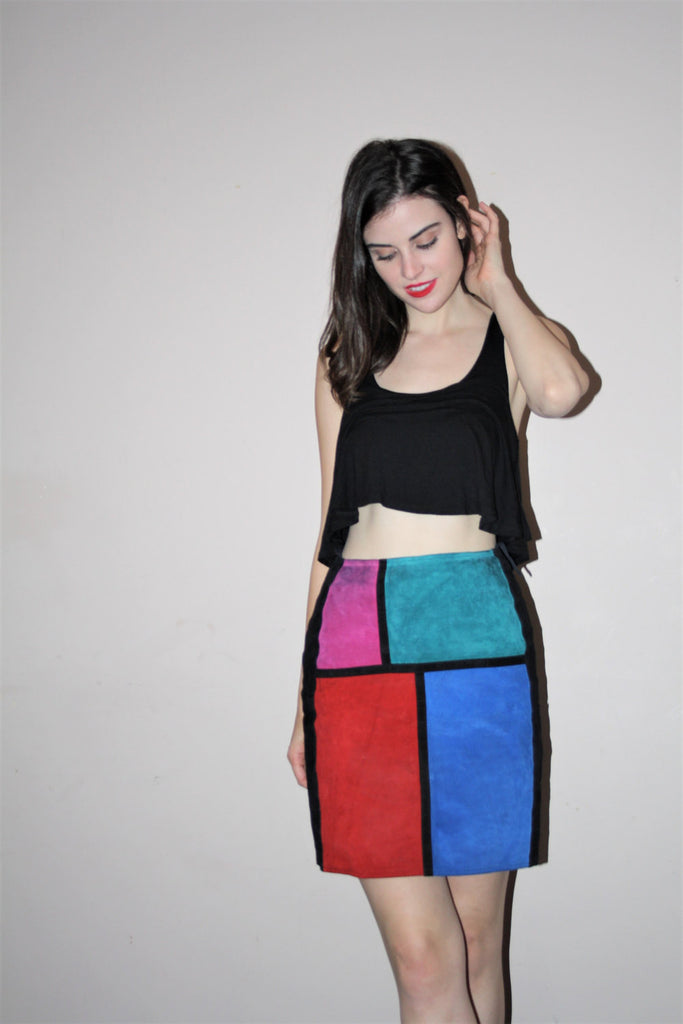 vetements Colorblock Mondrian Graphic Rainbow Hip Hop Rainbow Suede Mini Short Skirt