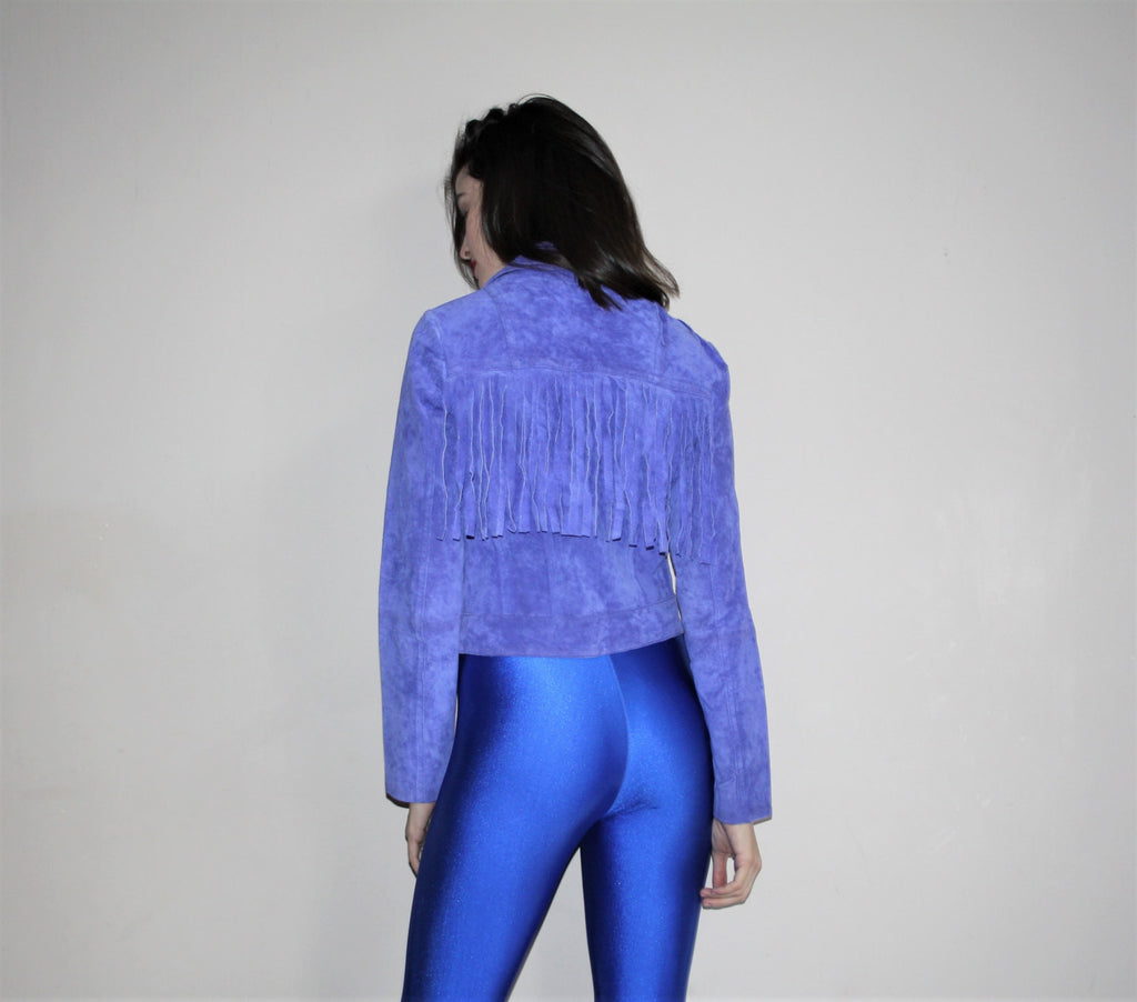 Vintage 90s Suede Leather Electric Fringe Lana Del Rey Moto Jacket