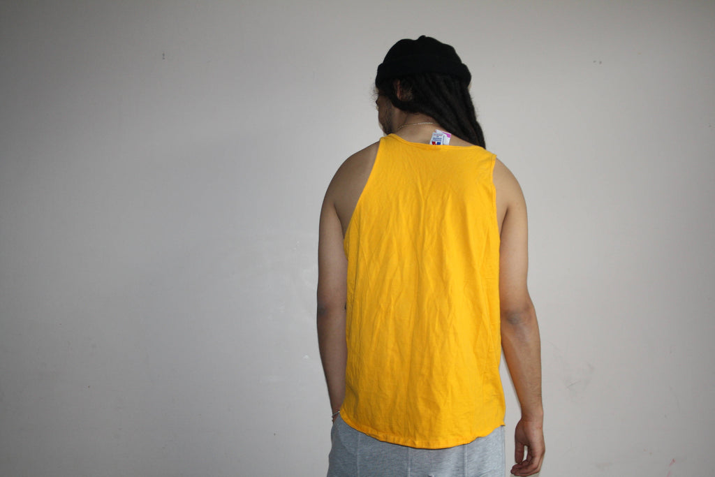 1990s Russell Athletics Yellow Logo Muscle Tee Men's L Tank Top