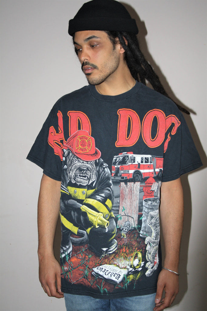 1990s Vintage Bad Dog Fire Co. Graphic Bull Dog Oversize T-Shirt