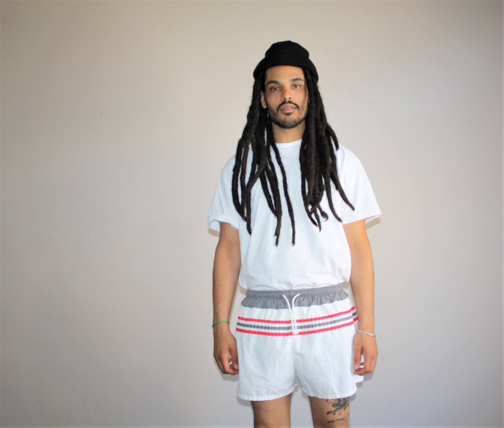 1980s Vintage Nautical Retro Striped Minimalist Swim Trunk Shorts
