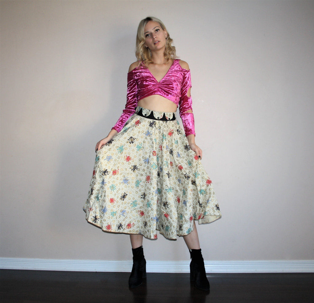 Novelty Print Vintage 1950s Novelty Gold Abstract Atomic Cotton Circle Skirt