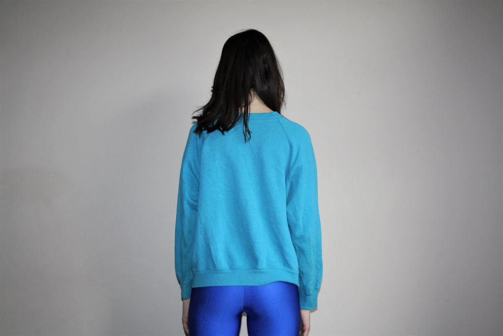 1980s Vintage Blue Classic Mickey Mouse Graphic Sweatshirt