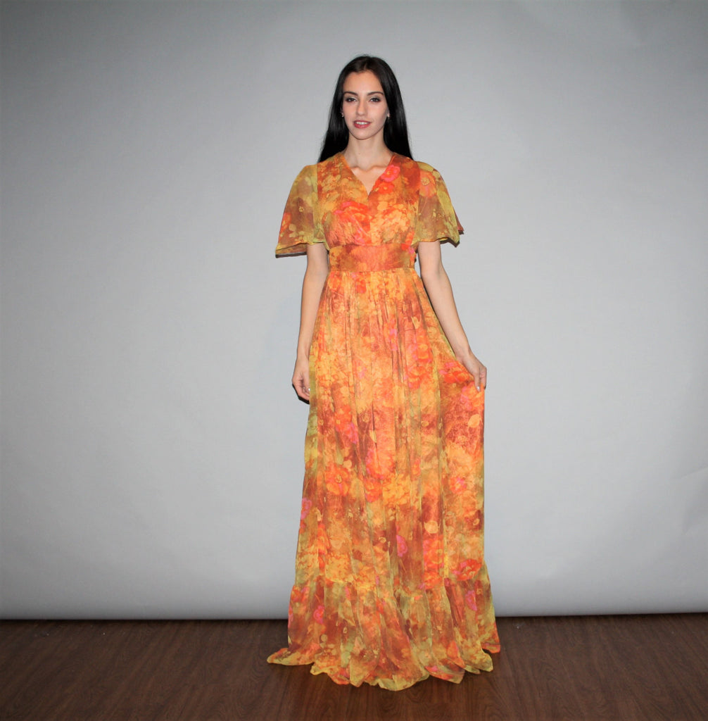Vintage Sheer Sleeve Orange Floral Boho Hippie Festival Maxi Halter Dress