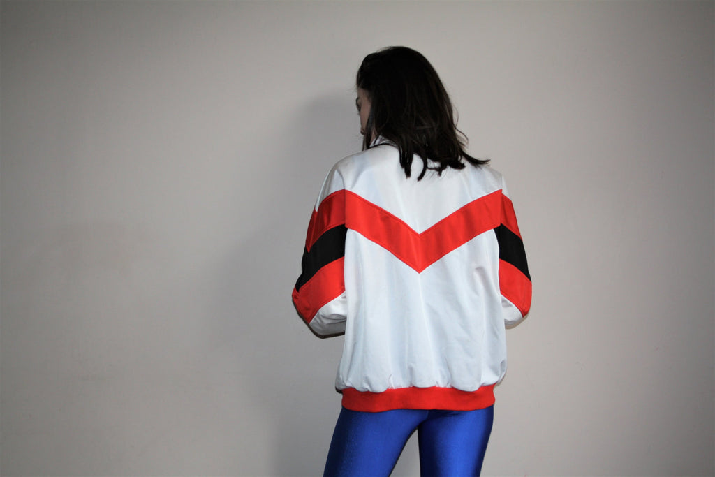 1990s Vintage Puma Red and Black Colorblock Hip Hop Athletics Sweater
