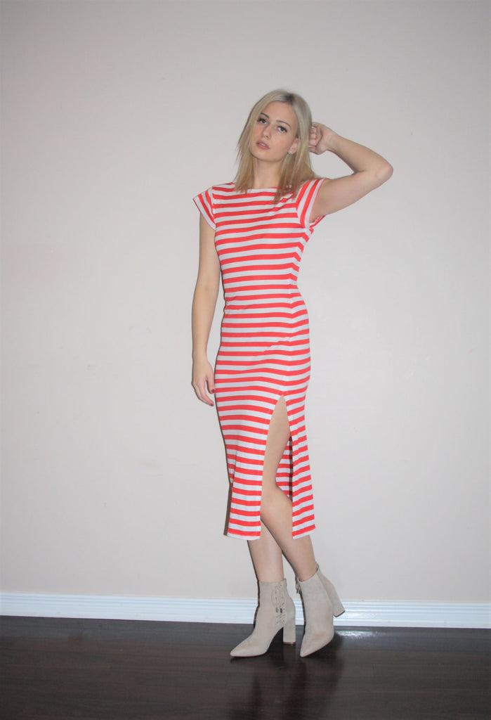 Vintage 1990s Red Nautical Candy Stripe Backless Body Con Dress with Slit