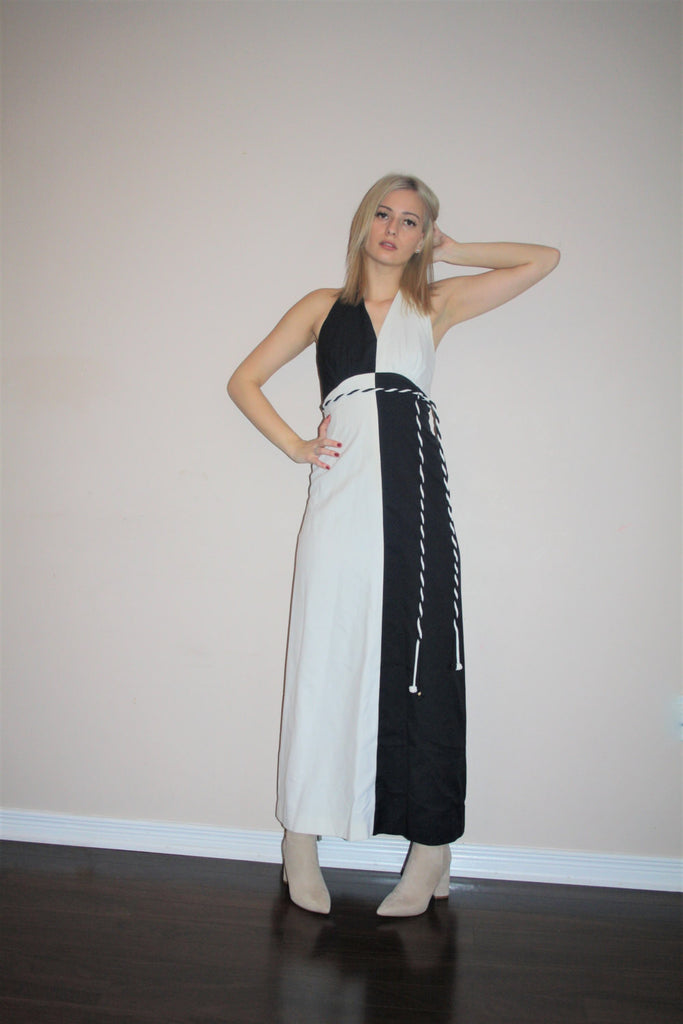 Vintage 1960s Graphic Colorblock Black and White Long Halter Goddess Maxi Cocktail Evening Glam Dress