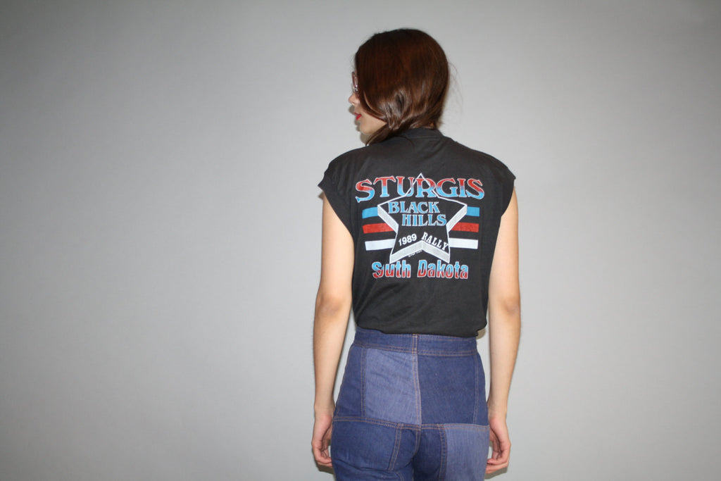 1989 Vintage Screen Starz Sturgis Motorcycle Muscle T Shirt