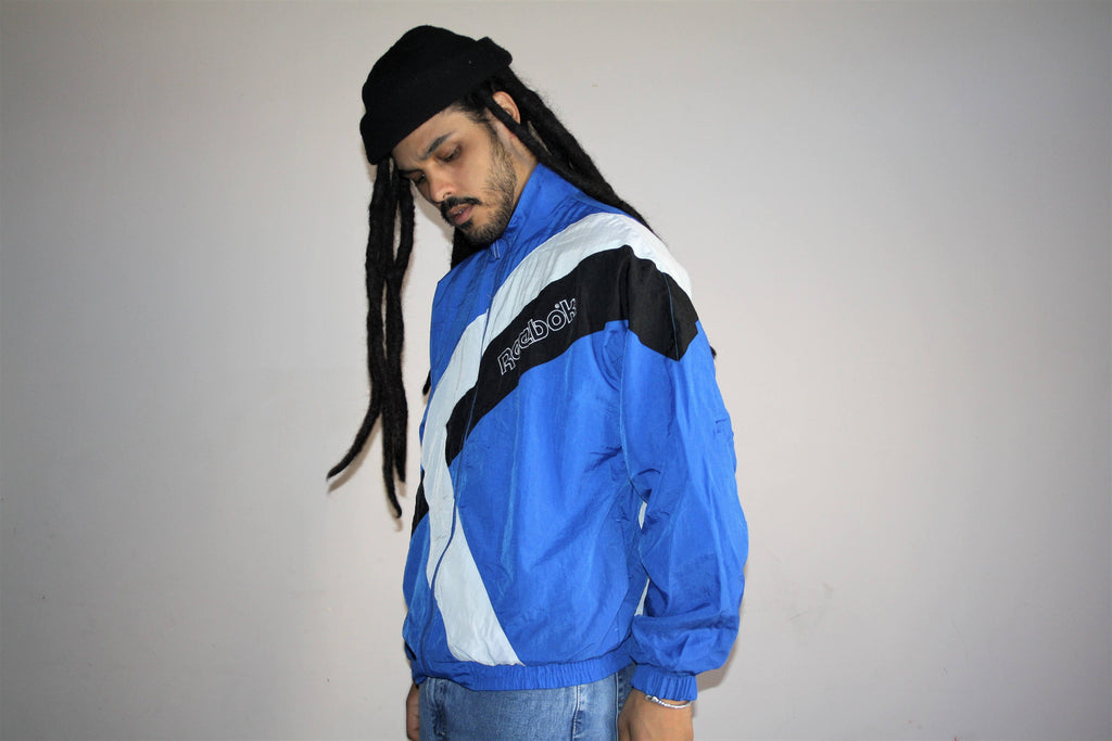 1990s Vintage Reebok Colorblock Athletic Hip Hop Windbreaker Jacket