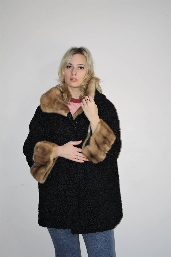 1960s Vintage Black Wool Mod Long Fur Collar and Cuff Coat
