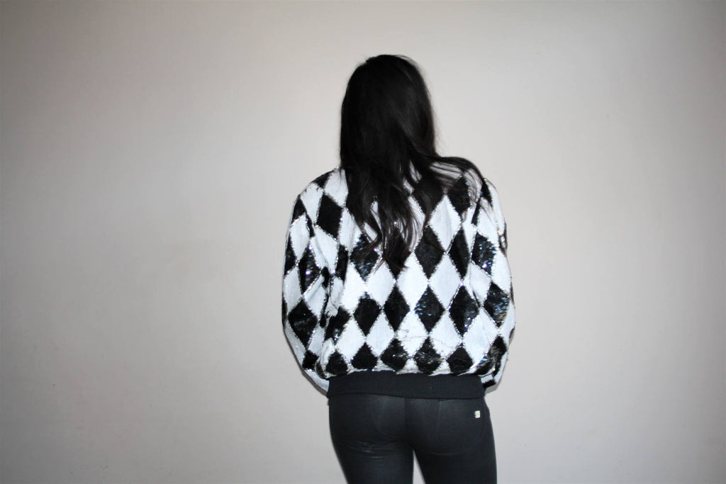 1980s Vintage Black and White Checker Graphic Sequins Bomber Jacket