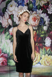 1990s Vintage Black Velvet Boydcon 90s Party Dress