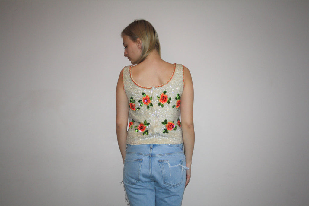 Vintage 60s Roses Sequin Floral Wool Beaded Tank Top