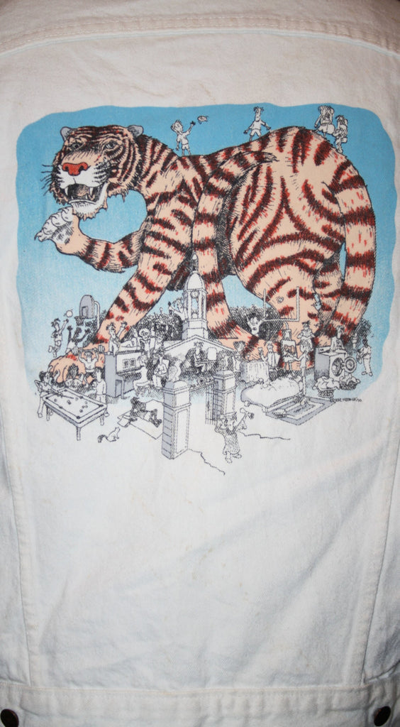Vintage 1990s White Jean Jacket with Graphic Cartoon Character Giant Tiger Denim Jacket