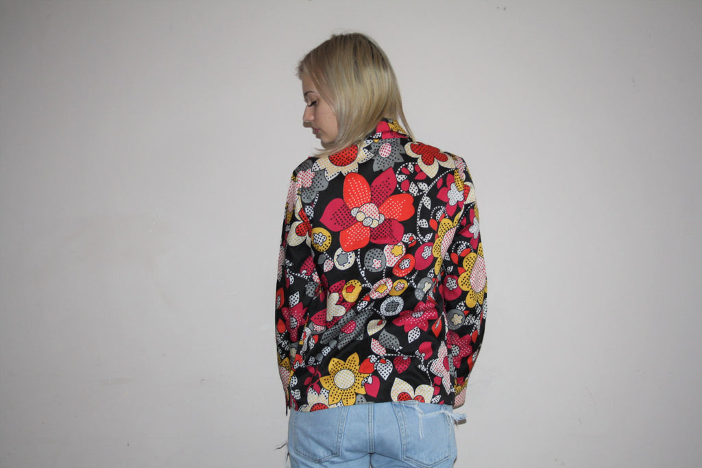 1970s Vintage Novelty Graphic Pop Art Floral Psychedelic Festival Blouse
