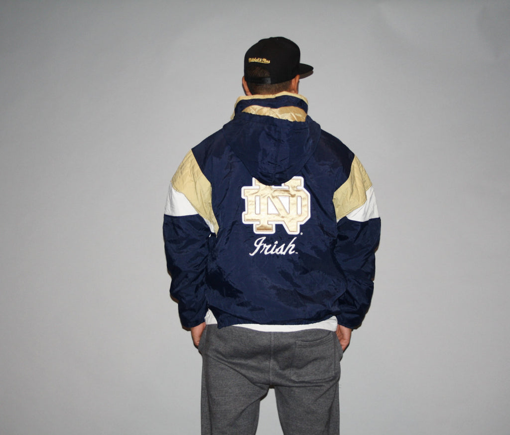 Vintage 1990s NCAA Football Notre Dame Hip Hop Rapper Rap Parka Magestic Puffy winter Bomber Jacket