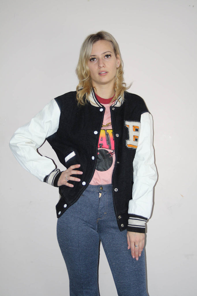 VTG 1980s Tiger Patch Black and White Leather Sleeves Varsity Bomber Coat