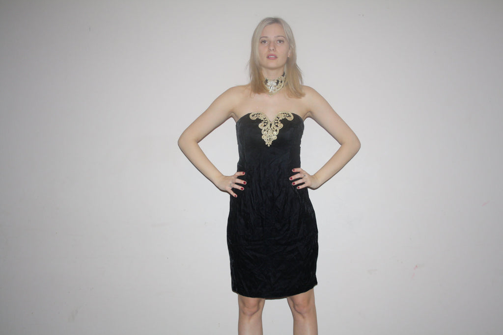 Vintage 1990s Gold Lace and Black Velvet Strapless Choker 90s Sweetheart Bodycon Dress